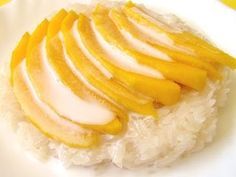 "Thai Coconut Mango Sticky Rice - Another pinner writes: ""I have been wanting this recipe forever! Its my favorite dish at The King and I! Thai Recipes, Sweet Recipes, Cooking Recipes, Dinner Recipes, Thai Coconut, Coconut Milk, Coconut Sauce, Mango Sticky Rice, Coconut Sticky Rice"