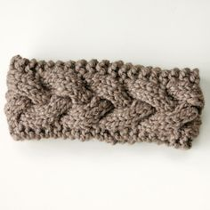Silver and Cocoa Powder Brown Cable Knit Ear Warmer Headband
