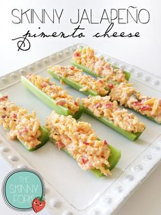 Skinny Jalapeño Pimento Cheese — A great thing to prepare ahead and take for lunch or even enjoy as a snack! Just over 200 calories in a whole serving!
