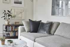 A Small-Space Brooklyn Home That's Classic AND Modern #refinery29  http://www.refinery29.com/modern-small-space-renovation#slide-2  A couch with contrasting seat hues makes a quiet statement. No color necessary. ...