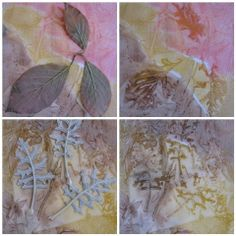 very pretty effect - watercolours liberally onto paper, then leaves, cover with cling film then leave to dry under a weight