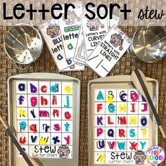 Sorting letter game! Literacy Stews is a FUN letter, beginning sound, sight word, and name game for preschool, pre-k, and kindergarten. #preschool #prek #lettergame #sightwords