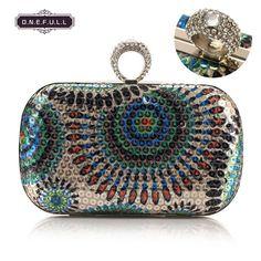 Women Sequin Rhinestone Knuckle Ring Clutch Handbag Chain Evening Bag Purse Blue