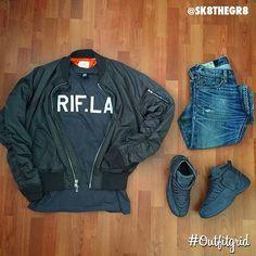 Today's top #outfitgrid is by @sk8thegr8. ▫️#FOG #Bomber ▫️#RIFLA #Tee ▫️#RalphLauren #Denim ▫️#PublicSchool x #JordanXII