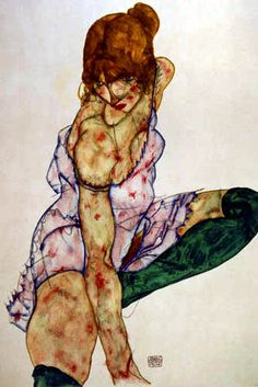 Egon Schiele. I love the coloring on this one. The pale purple of the chemise, the forest green of her socks, and the russet color of her hair. Gorgeous.