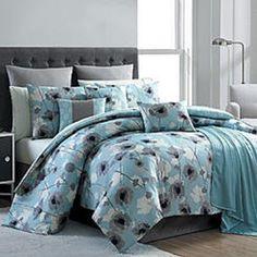 16 Piece Blue Floral Complete Comforter Bedding Set Bed in a Bag