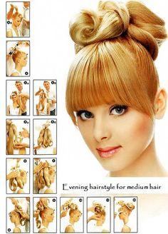 Evening hairstyle for medium hair
