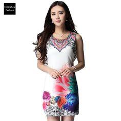 summer dress 2016 women dress spain desigual bodycon sleeveless short vintage Floral dress fit and flare robe femme women dress -- For more information, visit image link.