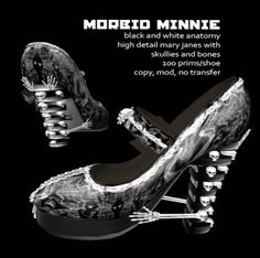 Second Life Marketplace - Grim Bros. Morbid Minnie bw anatomy (update) - mary janes- BOXED #secondlife #steampunk #shoe