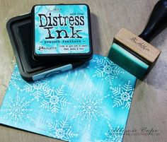 Ally Cope, Scrapbook and Cards Today snowflake cards, Distress ink, embossing