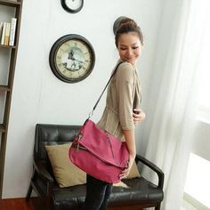 Cute European Canvas Casual Cross Body Bags Red For Girls
