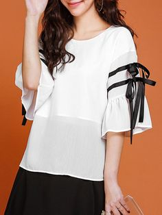 Shop Blouses - Color-block Bell Sleeve Solid Chiffon Girly Blouse online. Discover unique designers fashion at StyleWe.com.