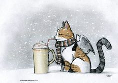 This cold Caturday needs some warm apple cider, with whipped cream.
