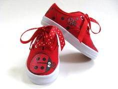 Girls Ladybug Shoes, Baby and Toddler, Red Canvas Sneakers, Hand Painted