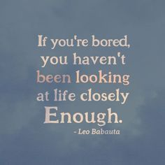 If you're bored, you haven't been looking at life closely enough. ~ Leo Babuta  #myt
