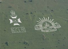 Fovant Badges in Wiltshire. Taken from the air in July 2006. 6th Battalion, City of London Regiment (City of London Rifles) badge on left, Australian Imperial Forces badge on right.