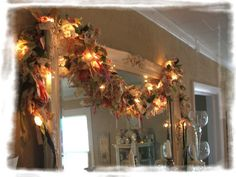 Shabby Christmas Time Rag Lighted Garland by SoShabbyJen on Etsy Christmas Holidays, Christmas Crafts, Christmas Decorations, Holiday Decor, Holiday Ideas, Christmas Ideas, Rag Garland, Light Garland, Garlands