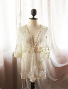 Angel French Cream Romantic Sheer Lace Jacket Nutcracker Angelic Dreamy Ethereal Ballerina Delicate Parisian Boudoir Dressy Robe Coverup- etsy.com