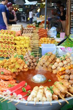 Thailand Street Food - An assortment of skewers from sausages, fish cake, crab sticks, dumplings and more! street food Street Food in Thailand Thai Street Food, World Street Food, Korean Street Food, Korean Food, Thai Recipes, Asian Recipes, Vegetarian Recipes, Crab Stick, Good Food