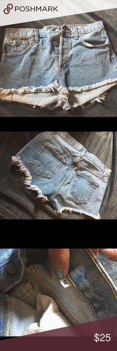 Brandy Melville Light Denim Shorts Light Denim high waisted Shorts bought from the Brandy Melville store, only worn once✨ Brandy Melville Shorts