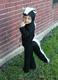 DIY kid skunk costume