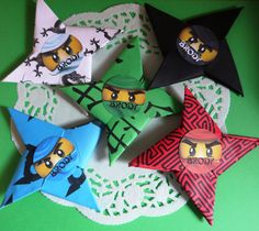 10 Ninjago Paper Throwing Stars Blades Lego Ninjago Party Favors Decorations Personalized Favors. $20.00, via Etsy.