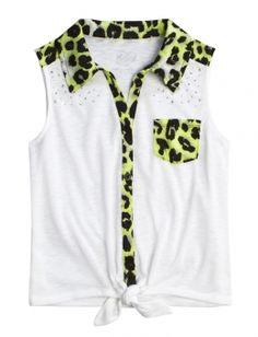Animal Print Tie Front Shirt