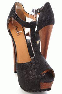 Black Faux Leather Glitter T Strap Peep Toe Platform Heels    Amiclubwear    $28.99