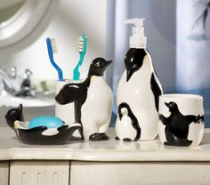 penguin bathroom accessories | since i collect penguins this is perfect for my bathroom grandma joan ...