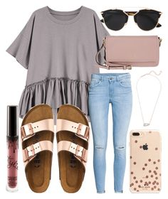 """TGIF"" by jadenriley21 on Polyvore featuring H&M, Kate Spade, Birkenstock, Kendra Scott and Christian Dior"