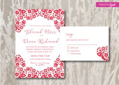 Floral Wedding Invitation-Digital wedding invitation-Printable wedding invitation set-Custom wedding invitation-Folk-Hungarian folk by Linvit on Etsy