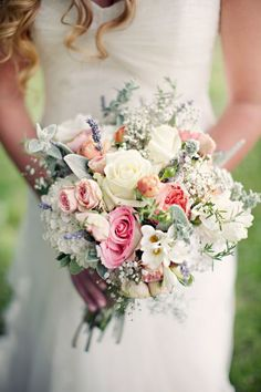 Make sure your bouquet reflects your personalty. Find out what colors mean in your wedding bouquet, and make it extra special. Bouquet Bride, Corsage Wedding, Bouquet Wedding, Rose Bouquet, Pastel Bouquet, Rustic Bouquet, Vintage Wedding Theme, Our Wedding, Dream Wedding