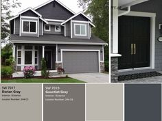 we have the exterior painted already with sherwin williams dorian gray for the siding and gauntlet gray for the brick we had picked black fox for the front - Home Exterior Paint Design