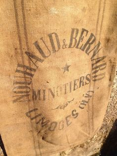 Antique French 1930s Grain Sack Hessian Jute Limoges Printed Logo Black Stripe