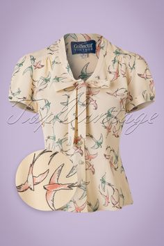 Vintage & Retro Shirts, Halter Tops, Blouses and more 40s Tura Swallow Blouse in Cream £34.64 AT vintagedancer.com