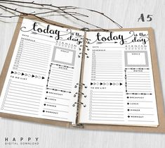 Printable Daily Planner Inserts, A5 Daily Planner, Printable A5 Organizer Notebook Daily planner inserts, PDF file by HappyDigitalDownload on Etsy https://www.etsy.com/listing/294500127/printable-daily-planner-inserts-a5-daily