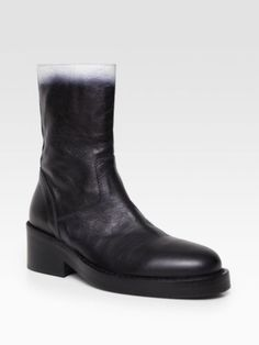 $1411 Ann DEMEULEMEESTER Black Leather Ombre Boots Size 40 | eBay