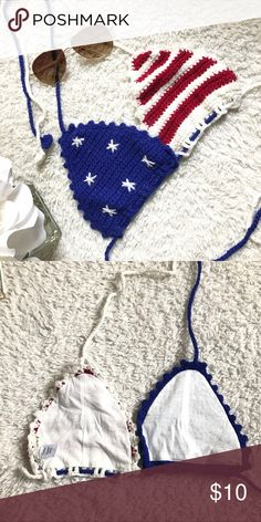 American Flag Crochet bikini top  American flag patterned crochet bikini top  I purchased this last year on etsy! Light weight, non padded. Selling the top only. The size I purchased was a small. PINK Victoria's Secret Swim Bikinis