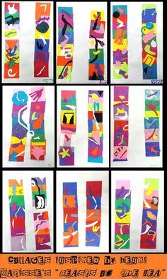 "A: Abstract Art and Henri Matisse. grade collages based on Matisse' ""beasts of the sea"" Henri Matisse, Matisse Kunst, Matisse Art, Matisse Cutouts, Henri Rousseau, Kindergarten Art, Preschool Art, Arte Elemental, 4th Grade Art"