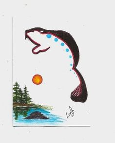 aceo beaver animal native aboriginal abstract Walker ebsq caat sfa art painting