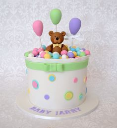Lolly bag Baby Shower cake with fondant Teddy bear & balloons.
