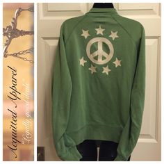 Lucky Brand Peace Zip Up Jacket Excellent condition. Cool faded green color. Fill zip. Size medium. Runs big. Would fit a large easily. Lucky Brand Tops Sweatshirts & Hoodies