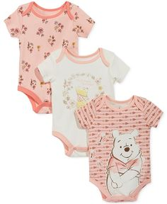 Nannette Baby Girls' Winnie the Pooh Bodysuits - Winnie the pooh - bebe Outfits Niños, Baby Boy Outfits, Kids Outfits, Baby Girls, Baby Girl Pajamas, Winnie The Pooh, Baby Annabell, Baby Disney, Disney Girls