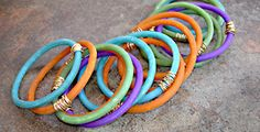 Extruded Polymer Clay Bracelets wrapped with wire