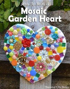 Button, beads, jewels and tiles make this beautiful mosaic Valentine's heart - looks great but easy to make!