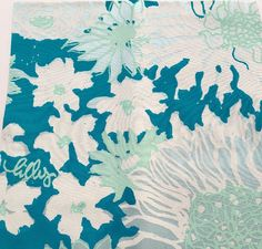 Authentic 1960's-1970's Lilly Pulitzer fabric squares by Key West Hand Print Fabrics, Inc. teal floral by LuLuBunnyHome on Etsy