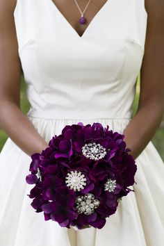 From Offbeat Bride:We're Married! www.annakerns.com. I LOVE this bouquet and all the purple! Such a beautiful, simple wedding.