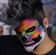 Rainbow Skull Makeup