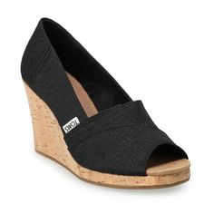 Toms Classic, Womens Toms, New Shoes, Wedge Sandals, Peep Toe, Wedges, Pumps, Black, Nordstrom Rack