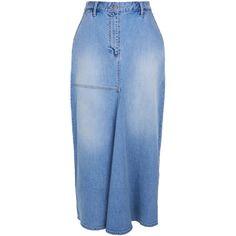 Tibi Vintage Wash High Waisted Denim Skirt ($350) ❤ liked on Polyvore featuring skirts, denim, button front skirt, denim skirt, patchwork skirt, knee length pleated skirt and knee length denim skirt